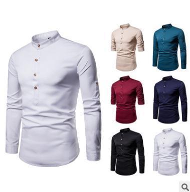 Männer s-Hemdoberseiten Normallack Einreiher Herren Henry Kragen große Größe langärmliges Hemd grundlegende Art Freizeitkleidung