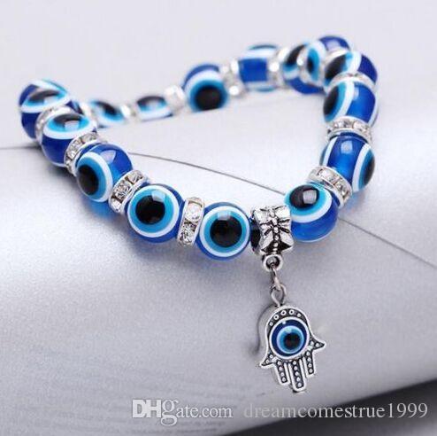 جديد 10 قطعة / الوحدة الأزياء الأزرق الشر العين كريستال أساور محظوظ سحر الإسورة مجوهرات diy للنساء
