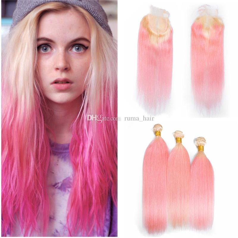 Blonde Pink Straight Hair With Lace Closure New Fashion Color Blonde Pink Two Tone Hair Weaves With Lace Closure 4Pcs/Lot