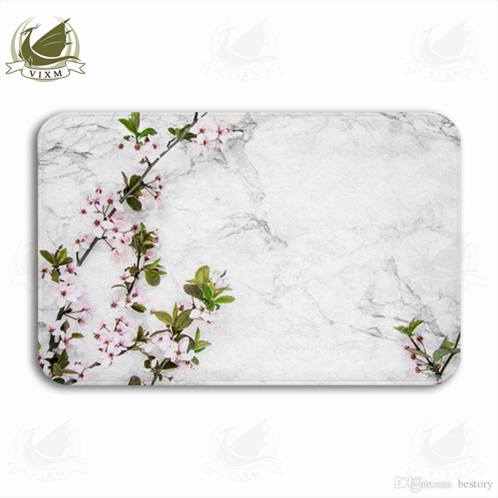 Vixm весенние ветви вишни на мраморном столе Добро пожаловать дверь коврик коврики фланель противоскользящие вход крытый кухня ванна ковер