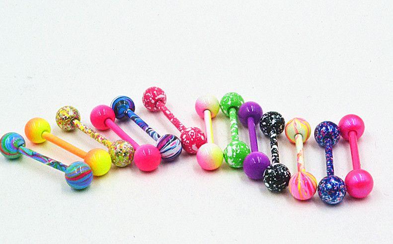Ücretsiz Kargo 100 adet Vücut Takı Piercing Dil Yüzük Barbell Nipelli Bar 14g ~ 1 .6mm x 16mm x 6mm Mix Güzel Renkler Noel Hediyesi