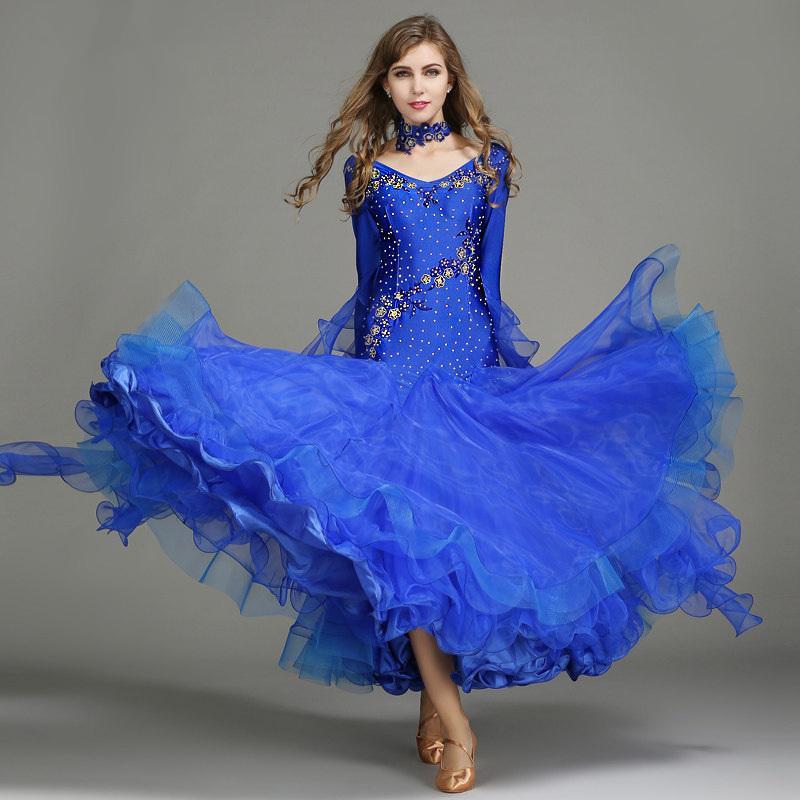 Standart Rekabet standart dans elbise kadın fokstrot elbise dans balo için 6 renk mavi pullu balo vals elbiseler