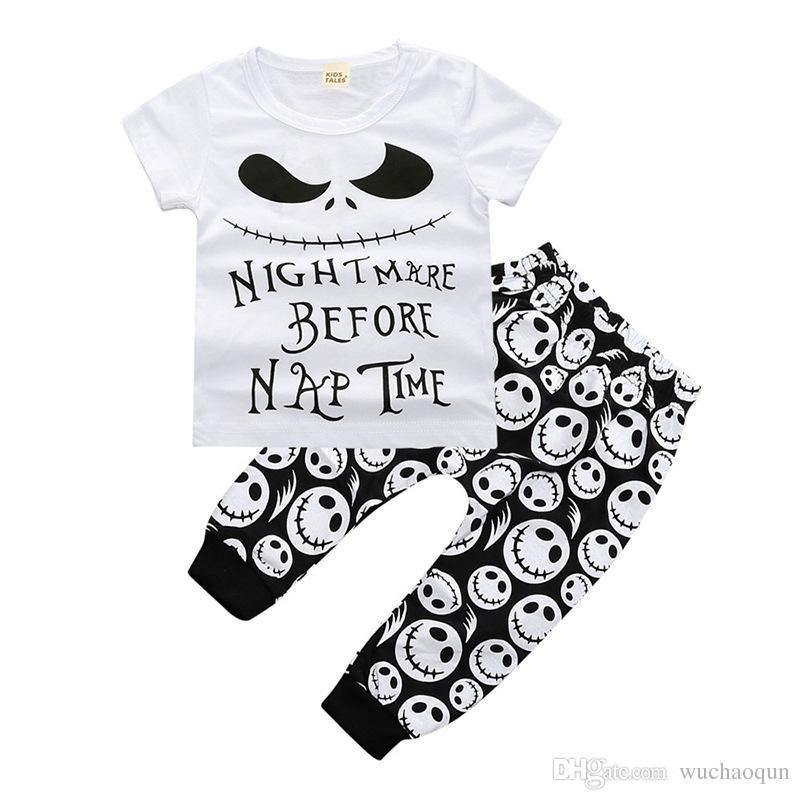 신생아 아기 소년 의류 유아 T 셔츠 + 바지 2PCS는 옷 유아 부티크 캐주얼 의류 아동 의상 아동 잠옷 해골 머리를 설정