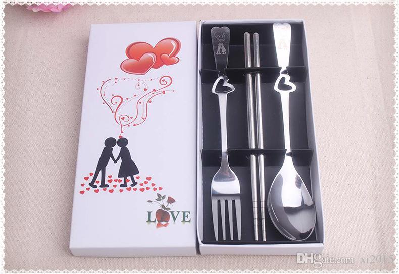 Ślub Favors Prezenty Kształt Serca Ze Stali Nierdzewnej Widelec Spoon Chopsticks 3 sztuki w jednym zestawie Wen7070