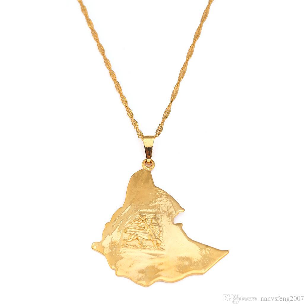 24K vergoldete Karte von äthiopischer Löwe Anhänger Halskette Afrika Gold Kette Halskette Karte Schmuck