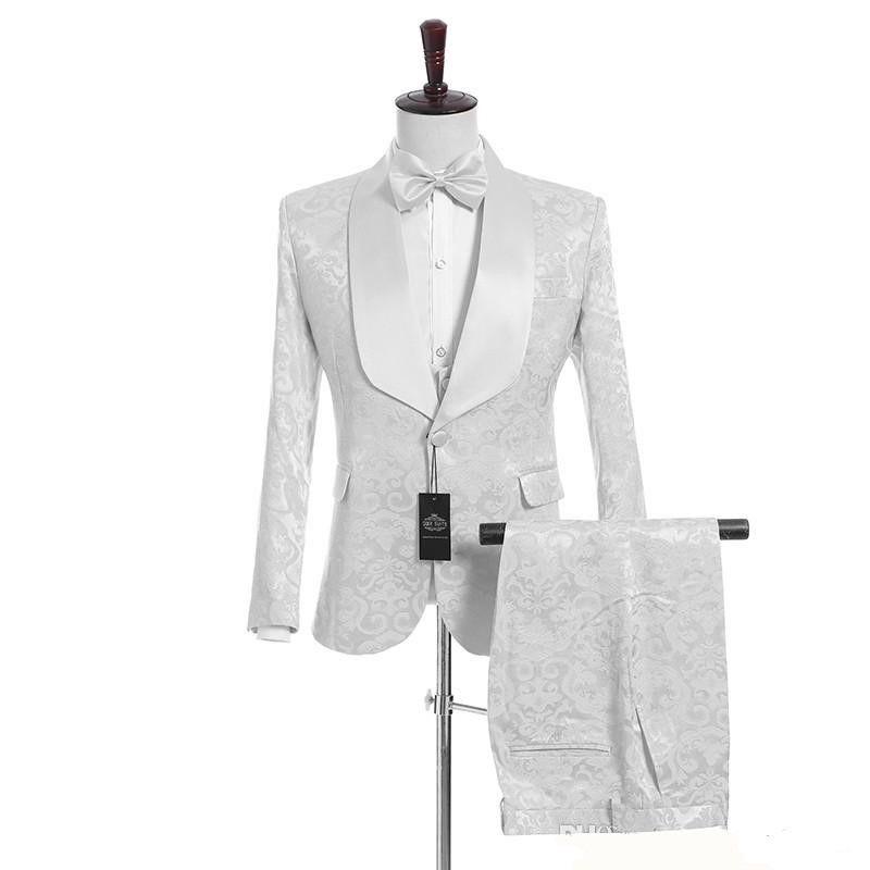 (Ceket + Pantolon + Vest + Tie) özelleştirme Şal Yaka Yakışıklı Beyaz Damat smokin Groomsmen Best Man Suit Erkek Düğün Suit 0001 damat