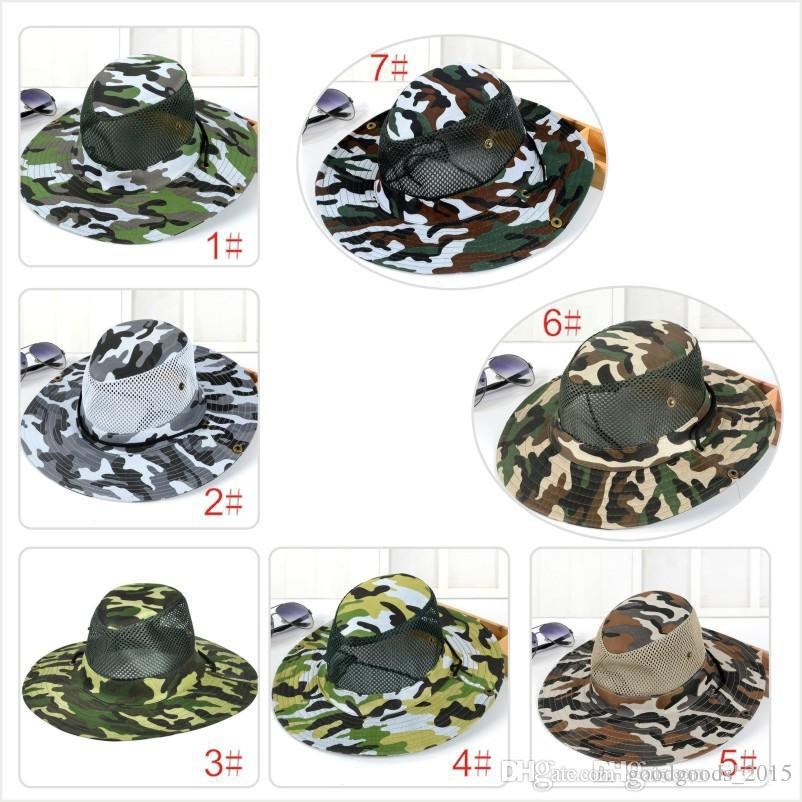 new camouflage sun net shade military hat breathable fishing hat man outdoor wide edge fisherman hat man Mo12