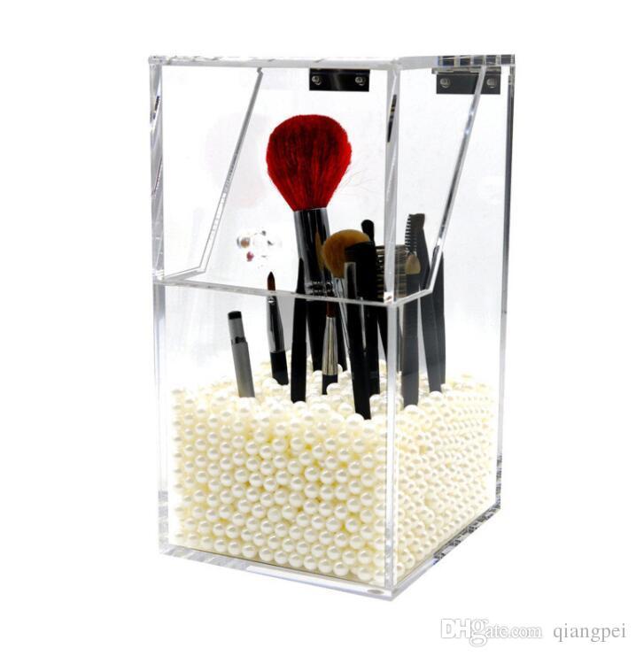 Makeup Brush Holder Dustproof Storage Box 5mm Thick Acrylic Makeup Organizer makeup brushes cup holder secado pinceles maquillaj