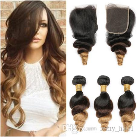 # 1B / 4/27 Honig Blonde Ombre 4x4 Lace Front Closure mit 3 Bundles Lose Welle Wellenförmige Jungfrau Malaysian Three Tone Colored Menschenhaar spinnt