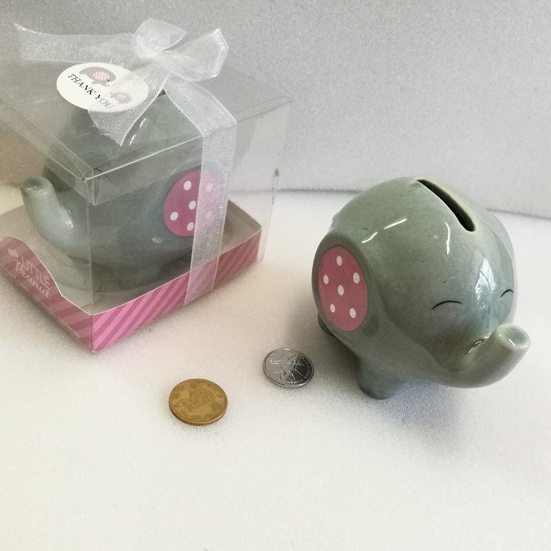 Cerâmica rosa / azul banco elefante caixa de moeda para o batismo favores presentes do batismo do chuveiro de bebê 30 pcs atacado
