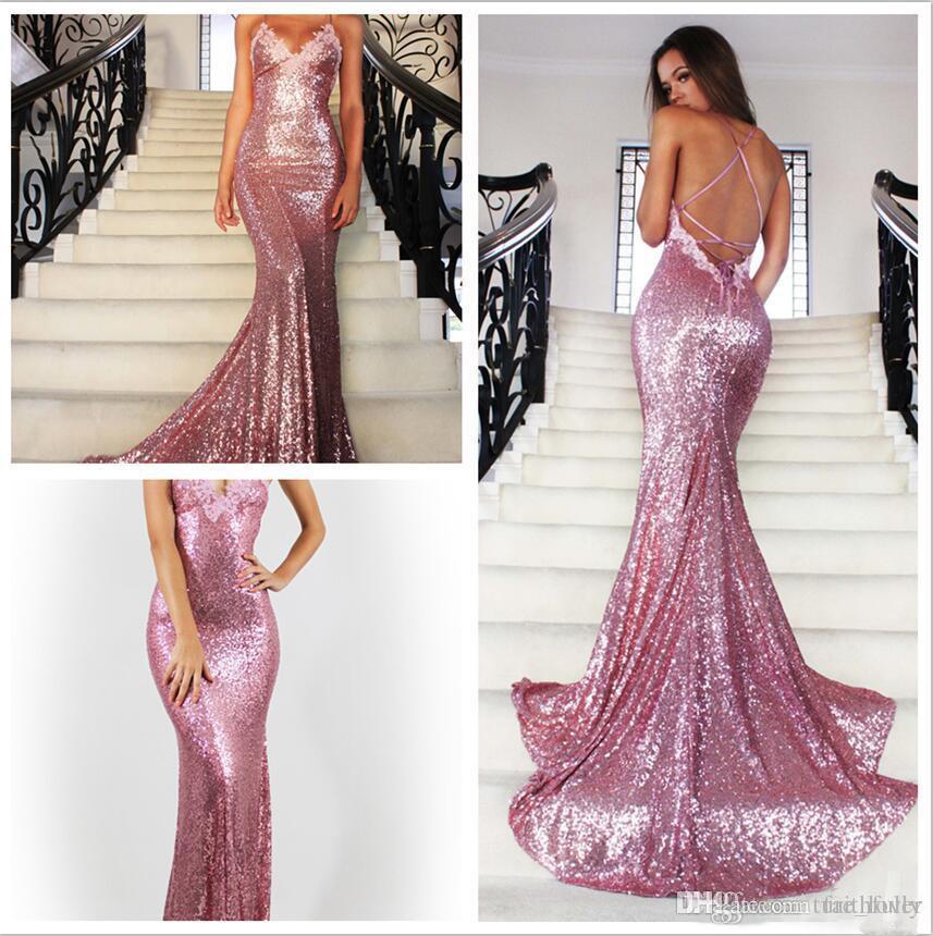 Backless lentejuelas sirena vestidos de baile Nueva moda Open Backs Sparkle Glitter Prom vestidos de cuello en V con apliques Vestidos de fiesta formales