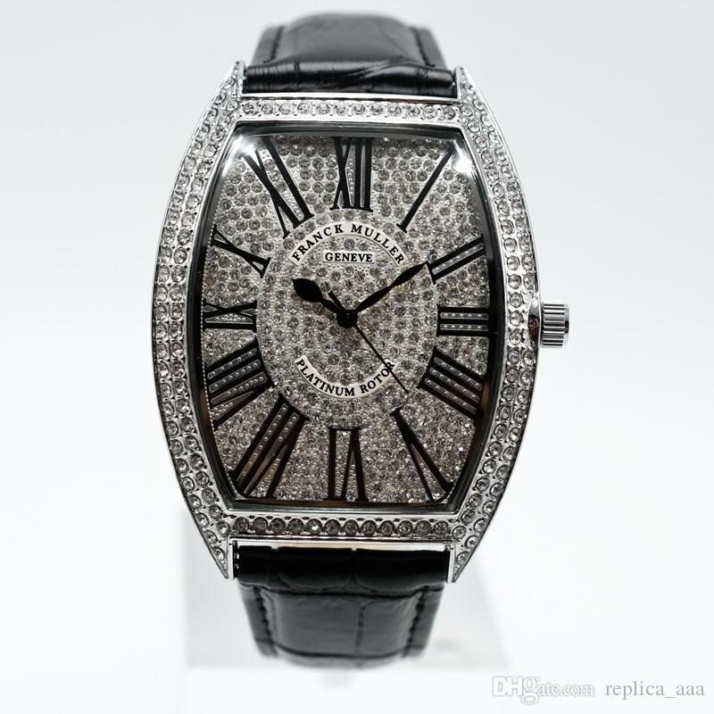 In vendita mens fascia di cuoio di quarzo pieno di diamanti uomini di lusso del progettista di moda orologio analogico digitale romano orologi regalo orologio da polso degli uomini all'ingrosso