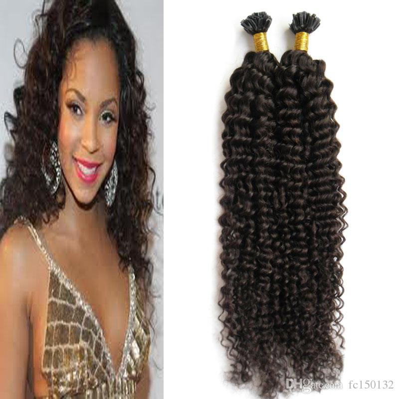 Dark Brown Brazilian Curly Hair Natural Color U Tip Human Hair Extension 100g kinky curly pre bonded fusion human hair extensions