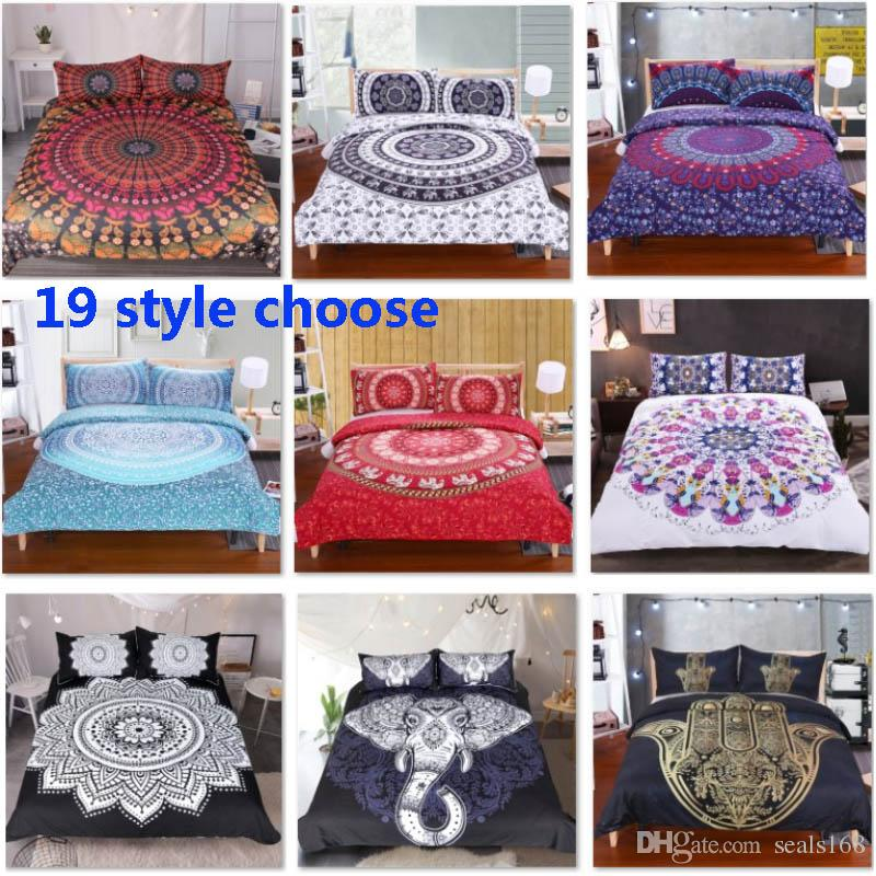 19 Designs Bedding Sets For Duvet Cover Pillow Case Cover 3pcs/Set Elephant Mandala Bohemian Quilt Cover Supplies Decorative Gift HH7-1792