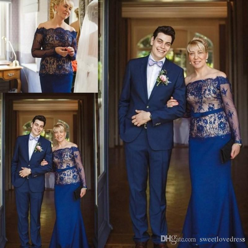 2019 Uzun Kollu Dantel anne Gelin Elbise Bateau Dantel Saten Elbiseler Düğün Konuk Elbise Kadınlar Örgün Törenlerinde Özel Boyut