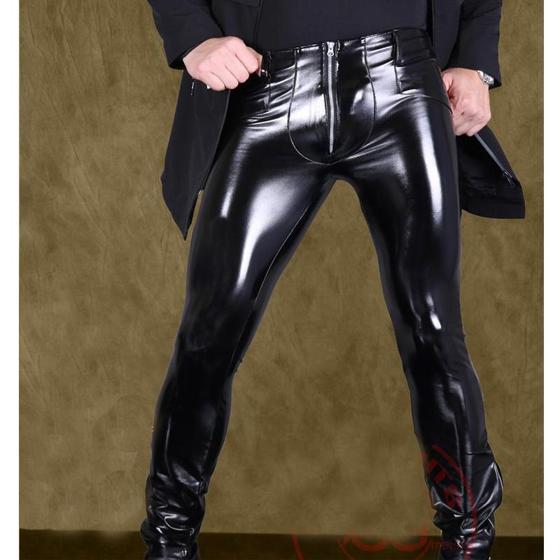 مثير الرجال السامي مطاطا pvc لامعة سروال رصاص فو الجلود أزياء الشرير السراويل زيبر الجبهة لامع رصاص غاي ارتداء f116