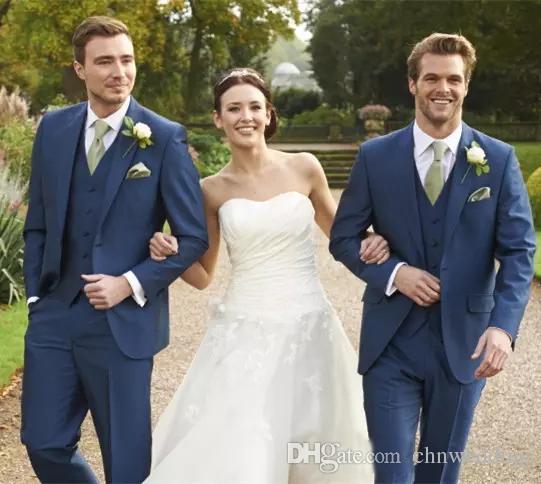 Custom Blue Men Suits 2018 for Wedding Slim Fit Tuxedos(Jacket+Pants+Vest)Groom Suit Prom Formal Wear