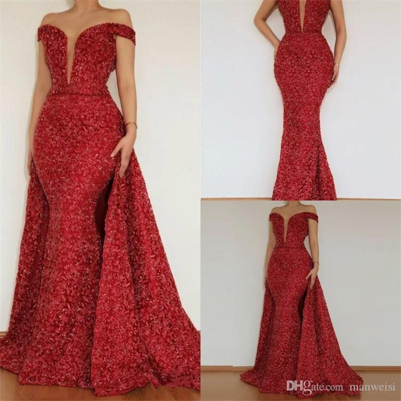 2018 Red Lace Shiny Sequin Mermaid Evening Dress Off Shoulder Dubai Women Celebrity Gowns For Ball Birthday Wear With Detachable Skirt