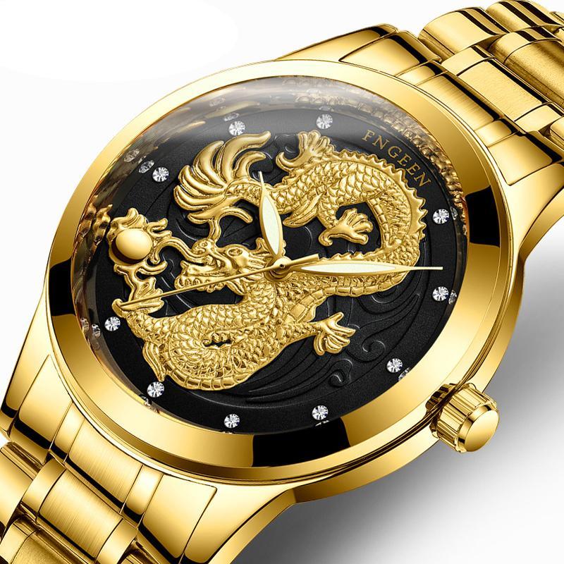 2018 Golden Dragon relógio de quartzo Mens Top Relógios Homem da forma Relógios de pulso Relógio de aço inoxidável Relógio Masculino