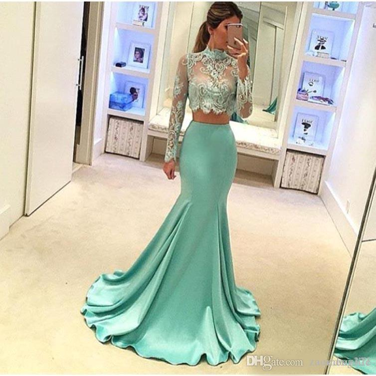 Mint Green Mermaid Style 2 Piece Prom Dresses Long Sleeve High Quality Sheer Lace Special Occasion Party Dress For Evening Gowns Cheap