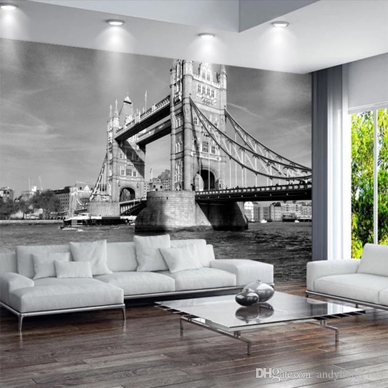 Acheter Personnalisé Papier Peint Murale London Tower Bridge Vintage Noir  Blanc Europe Architecture Chambre Salon Fond TV Fond D\'écran De $33.6 Du ...