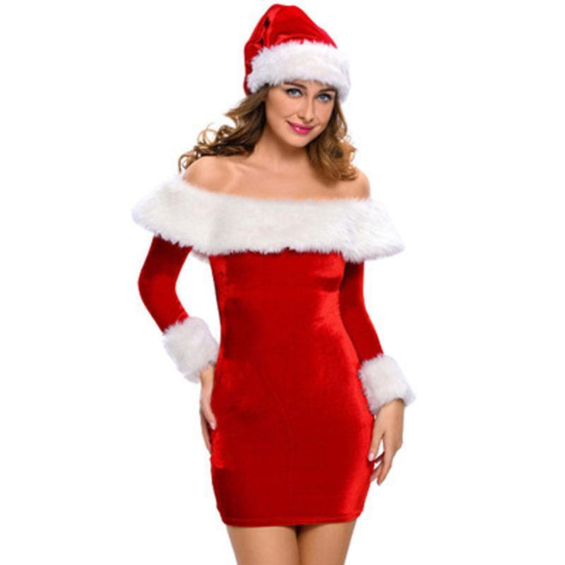 Novas Mulheres Uma Palavra Collar Natal Trajes Cosplay Feminino Vermelho Halloween Uniforme Role Playing Para Adulto Papai Noel Vestido + chapéu