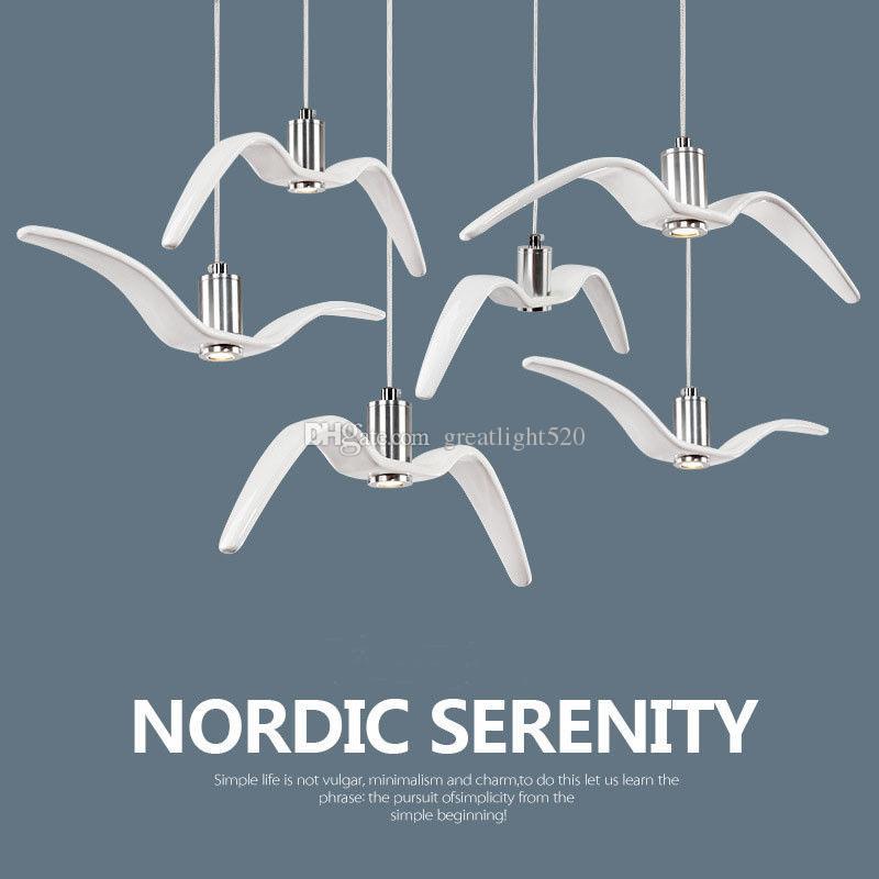 Nordic Resina Gaivota Pendant Light Sky Liberdade Pássaro Gaivota Lamp Silhueta