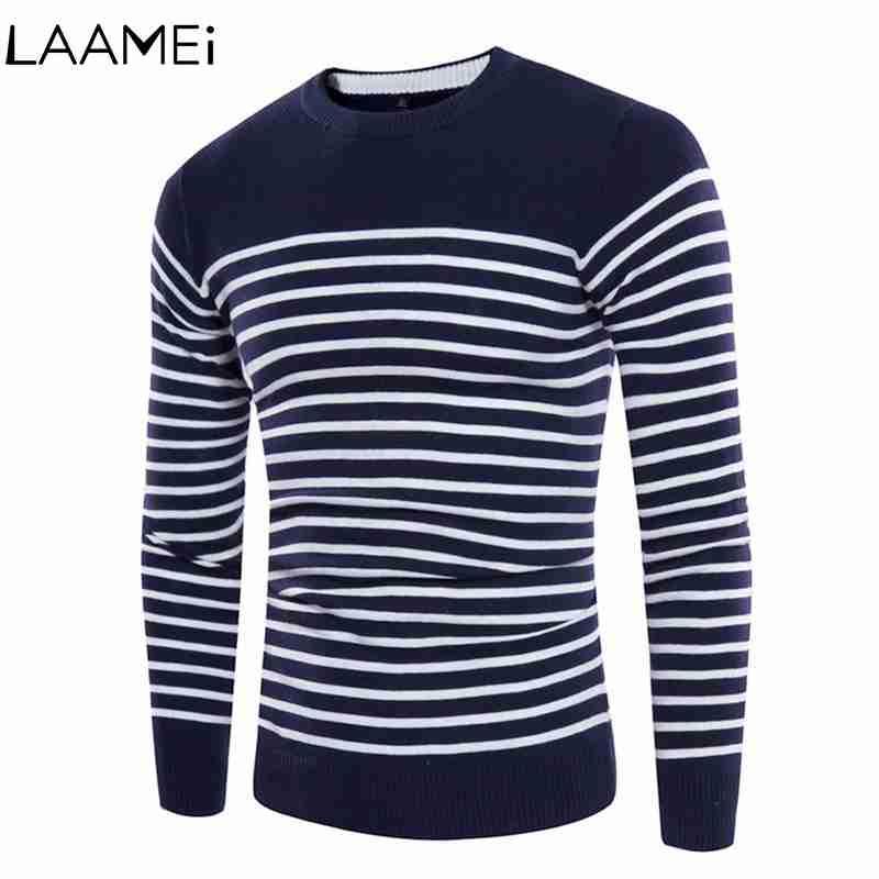 Laamei Pulls à coutures rayées pour hommes Pulls col rond en tricot pour hommes Slim Casual Pulls en relief foncé