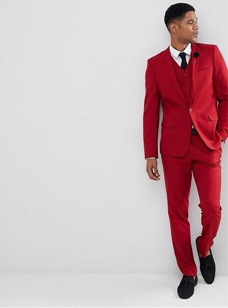 últimos diseños diversificados gran descuento de 2019 moda atractiva Compre 2018 Vestido De Novio A Medida Traje De Hombre Rojo Para La Boda  Ropa De Hombre Vestido 3 Piezas Camisa Pantalones Chaleco 574 A $188.72 Del  ...