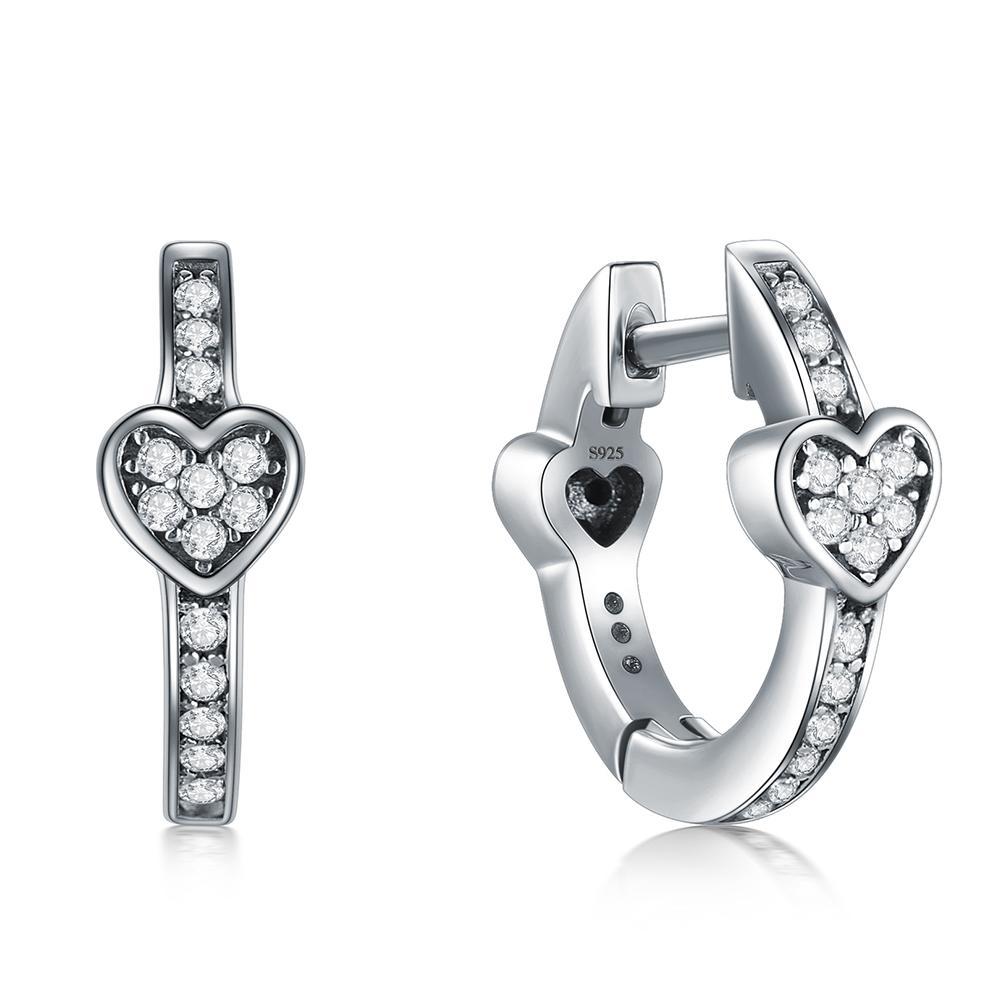 Modian encanto de la manera 100% pendientes reales de plata Corazones 925 deslumbrantes CZ del aro para las mujeres de cristal de plata esterlina