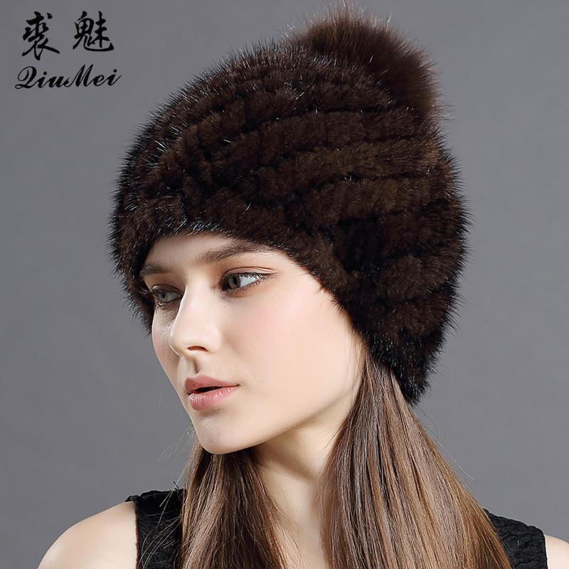QiuMei reale visone cappello di pelliccia con pelliccia di volpe cappello pompon per le donne nuovo di zecca addensato cappello femminile inverno lavorato a maglia visone pelliccia berretti D18110102