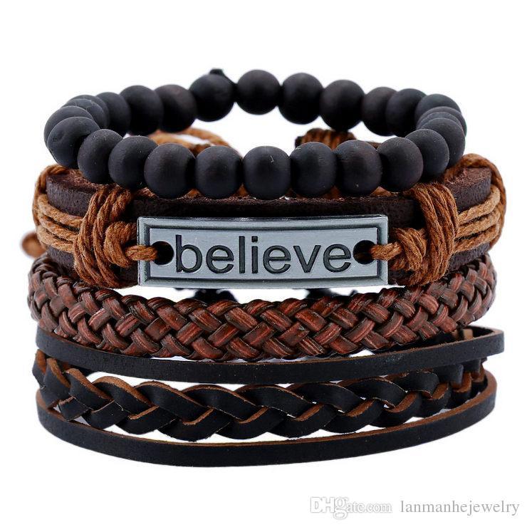Bracelets Jewelry 2018 Brand New Fashion Unisex Vintage Cowhide PU Leather Alloy Hemp Rope knitted DIY Charm Bracelets Set Wholesale BR500