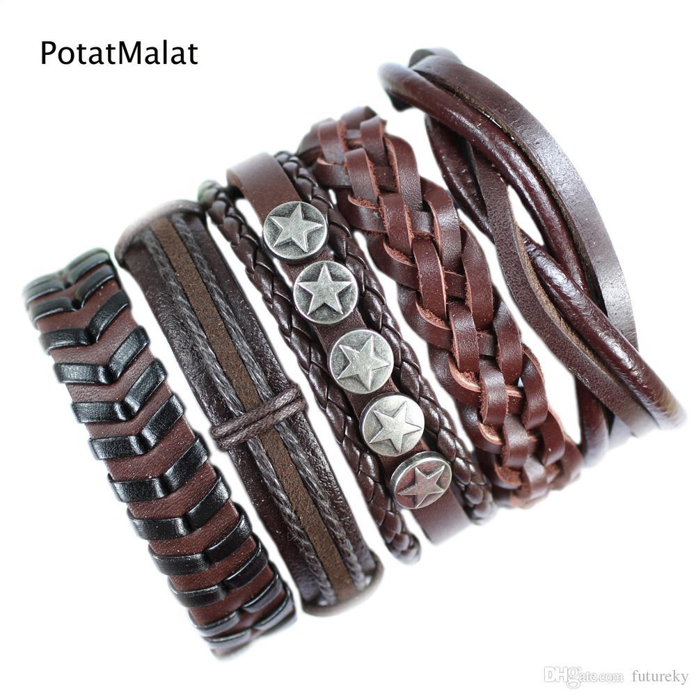 PotatMalat (5 шт./лот) изысканный коричневый ручной этнические ювелирные изделия подлинная оплетка сплава кожаный браслет с конопляной веревки для подарка F112
