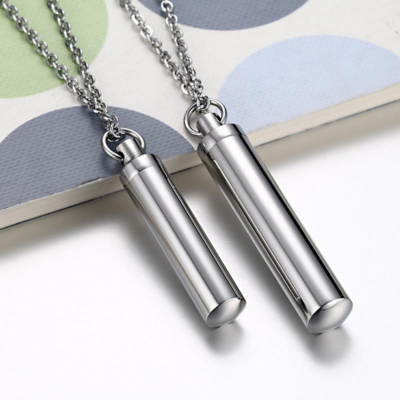 Colgantes de pareja de acero inoxidable de orden mixto para el amante colgantes con cadena collar de cilindro de boda collares de botella de perfume de hombres 587