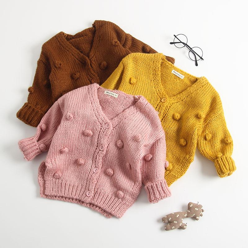 Baby Girls Knit cardigan autumn children pompom V-neck single-breasted long sleeve sweater outwear toddler kids cotton Tops Y104