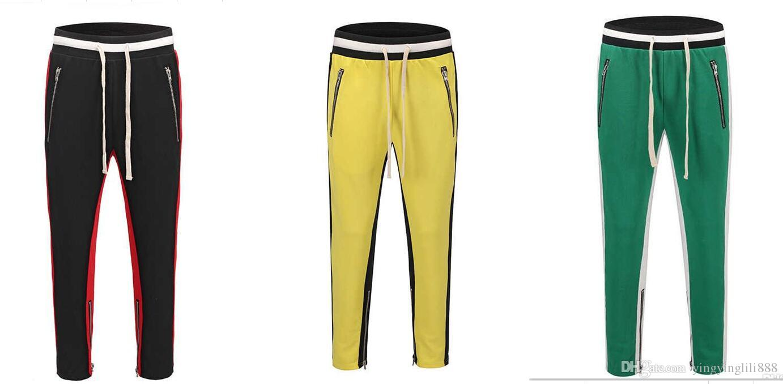 b6568b454ad6d3 New black red green Colour FOG Justin Bieber sweatpants hiphop Slim Fit  double striped track pants fear of god Leg Zip Vintage Joggers