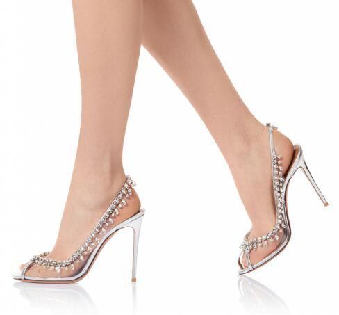 Elegante Peep Toe Slingbacks Salto Alto com Cristal Sliver Sapatos de Casamento para As Mulheres Transparentes PVC Noite Bombas de Verão Sapatos