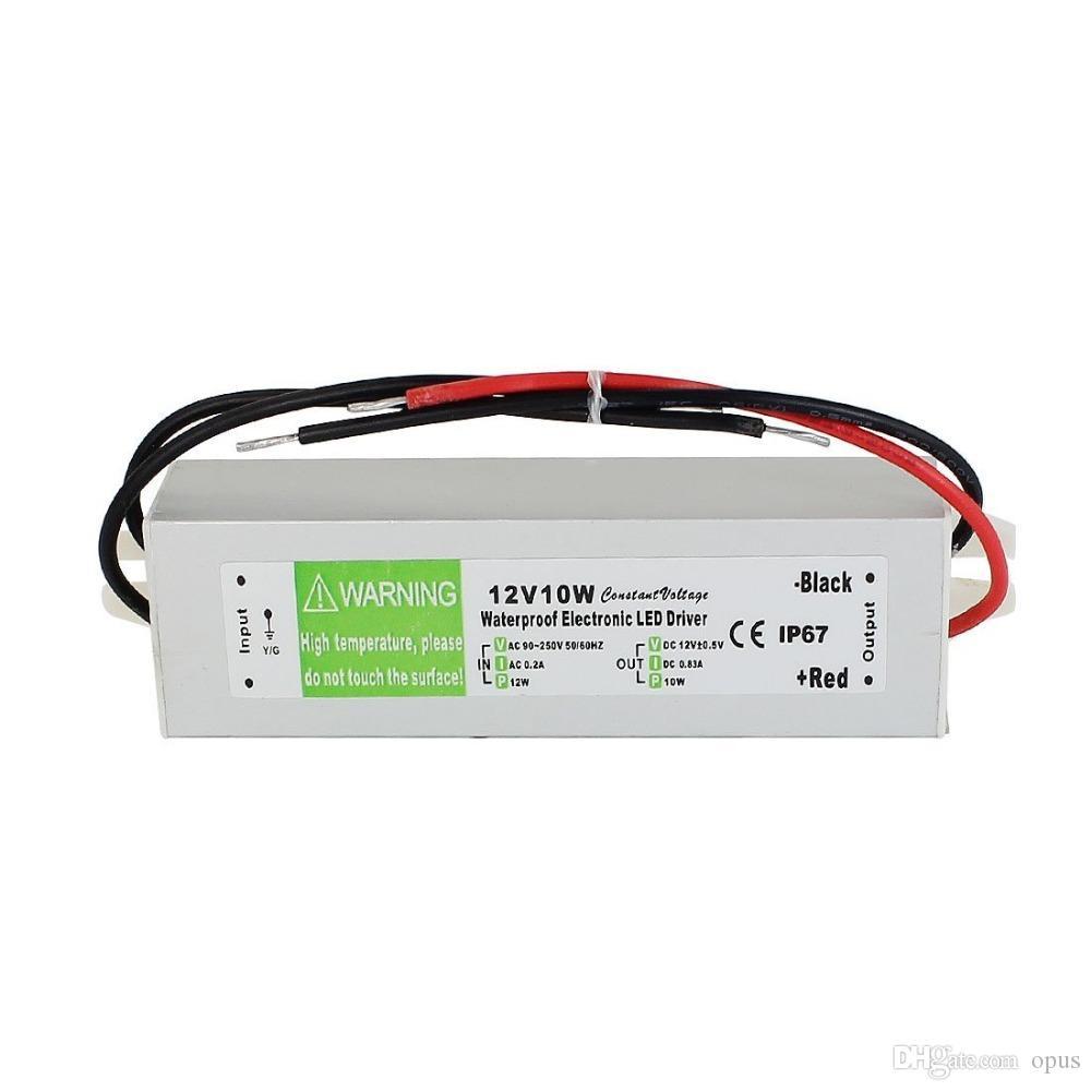 10pcs DC 12V 10W étanche IP67 électronique LED Adaptateur conducteur extérieur utilisation d'alimentation Bandes LED Eclairage Transformateur AC 90-250V