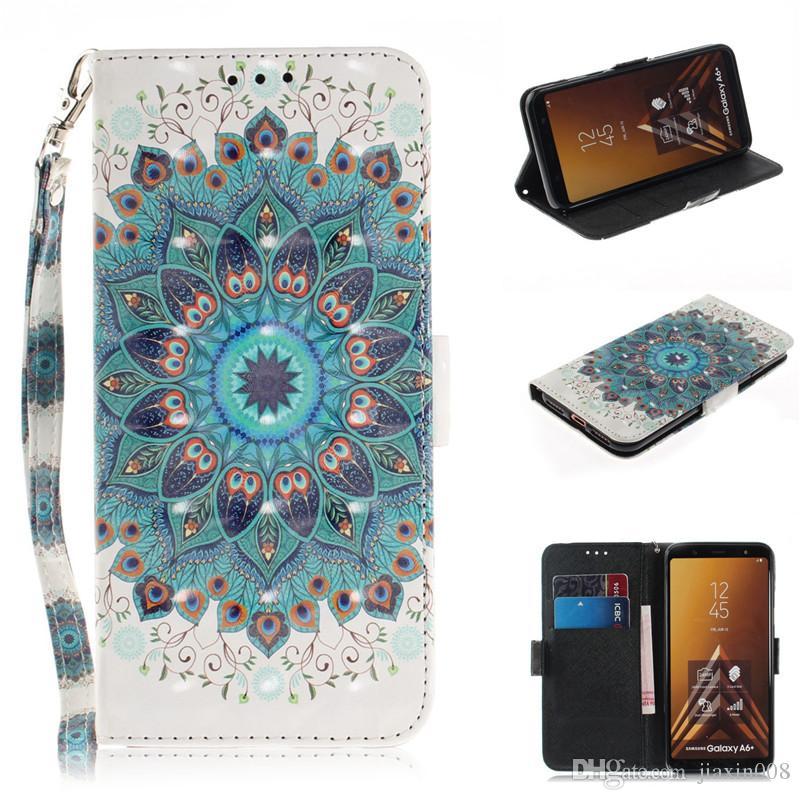Flip Cover Bolsas de teléfono para Samsung Galaxy A6 Plus 2018 Caso 3D Pintura de cuero de la PU suave Silicon Wallet Covers Cases Coque