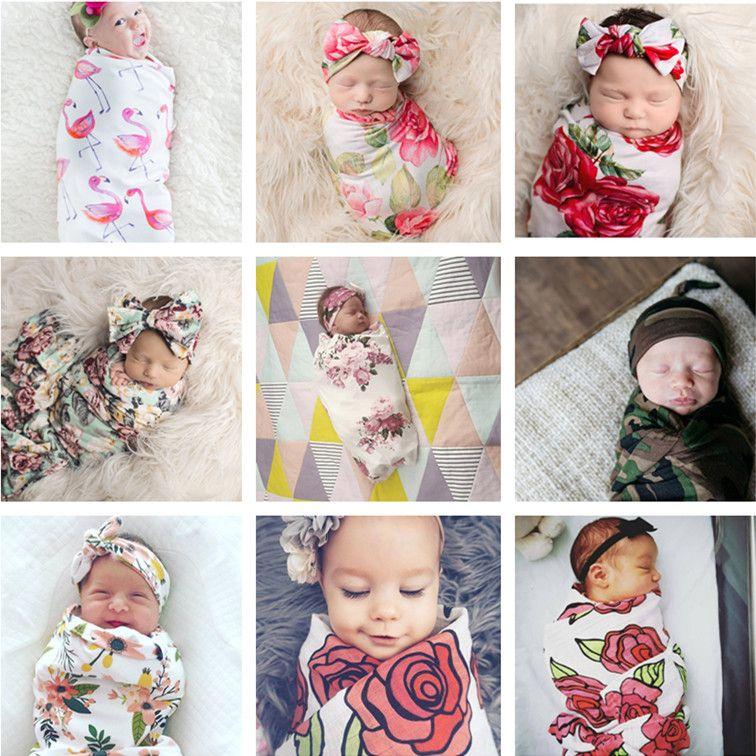 US Stock Newborn Baby Flamingo Blanket Swaddle Muslin Wrap Sleeping Bag Headband
