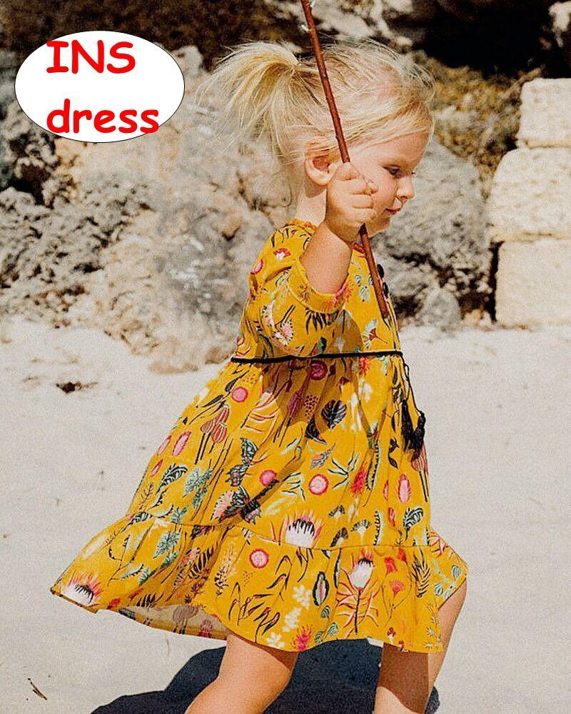 Bebê menina vestido de outono INS criança menina manga longa vestido estilo pastoral verão flor animal jardim dress