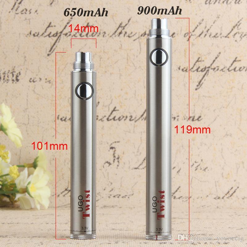 100% original EVOD UGO Twist batería cigarrillo electrónico ego twist voltaje variable 3.2v-4.8v batería para ego 510 atomizador