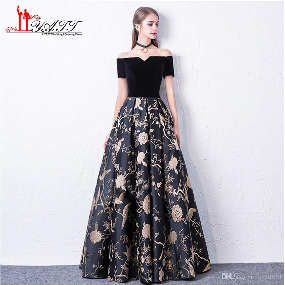 Compre Liyatt 2018 Nueva Moda Vestido De Noche Formal Elegante Fuera Del Hombro Falda De Encaje De Terciopelo Negro Top Vestido De Fiesta Largo