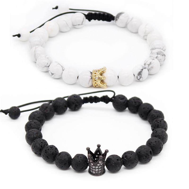Jego bransoletki 8mm czarne matowe białe koraliki korona króla para bransoletka miłośników biżuteria