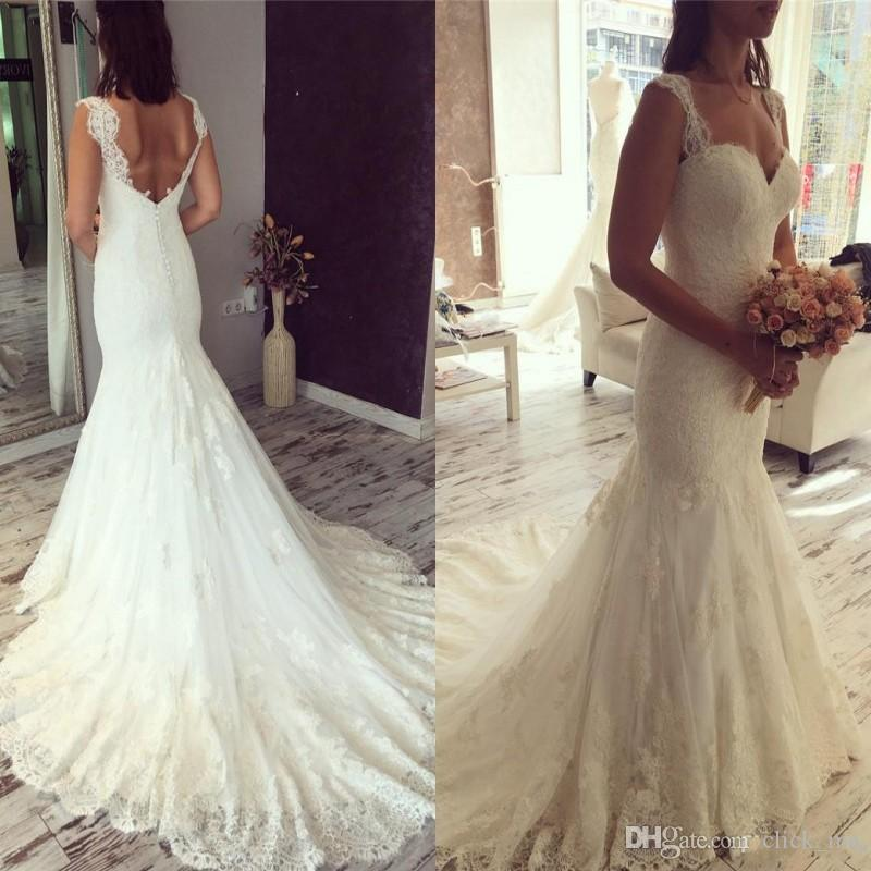 Vintage Mermaid Wedding Dresses Sweetheart Sexy Low Back Buttons Country Bridal Gowns Count Train Custom Made Cheap Lace Wedding Dress Wedding Dresses