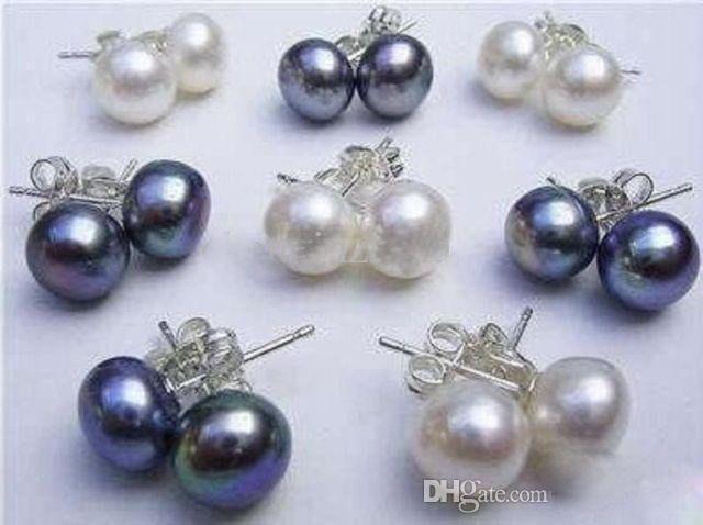 Orecchino d'argento 925 della perla coltivata Akoya della perla nera coltivata 16pcs / 8Pairs 8-9MM