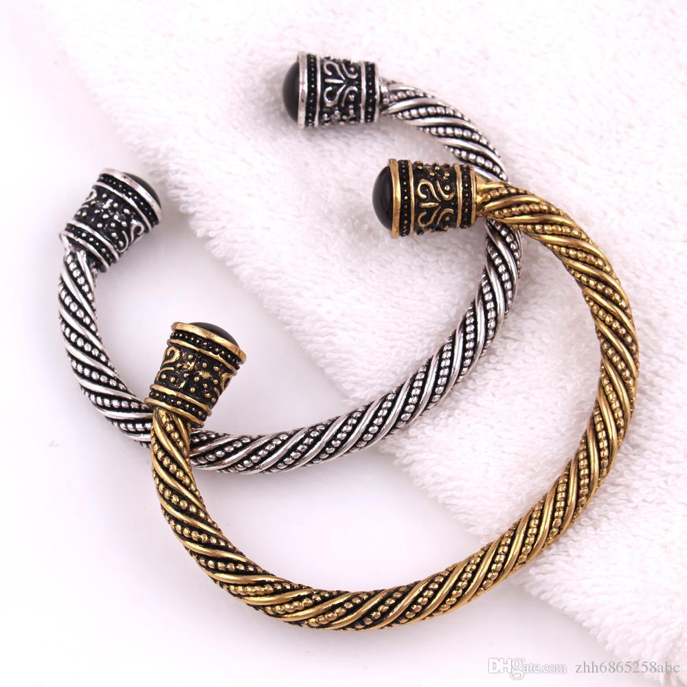 VB300017 Viking Bilezik Antik Altın Farbe Indische Schmuck Supernatural Pagan Metal Armbänder Geschenke für Männer