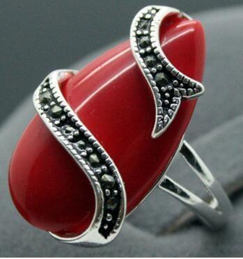 Envío libre al por mayor único 10X20mm tallado rojo laca marcasita 925 plata esterlina señora anillo 7-10