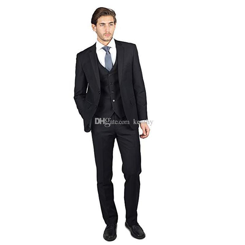 2019 Homens Ternos de casamento preto entalhado lapela Ternos vestido de noite Prom Noivo Custom Made Slim Fit 3piece melhor homem Blazer Casual Man Tuxedo