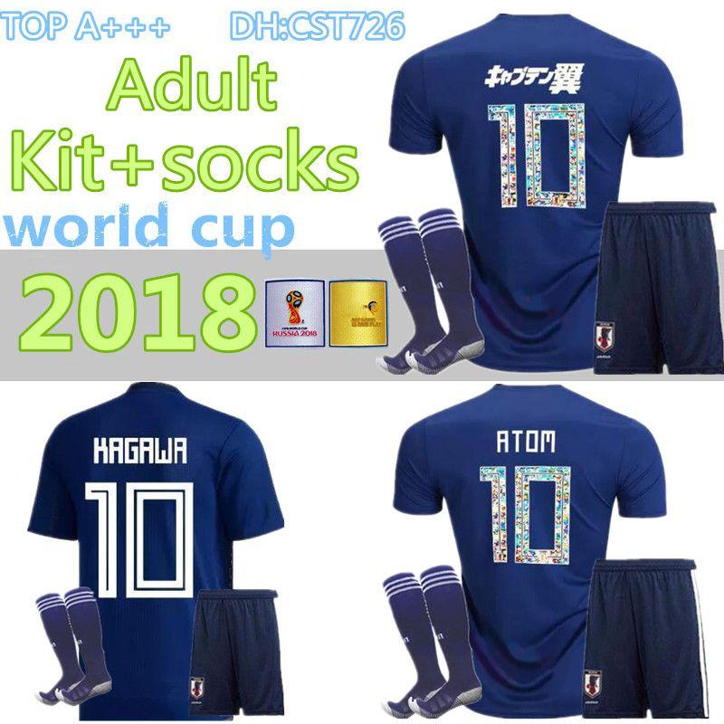 men kit+socks 2018 World Cup Japan home blue Soccer jersey OKAZAKI KAGAWA HASEBE NAGATOMO jerseys 2018 2019 japan Football shirt